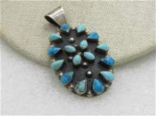 Vintage Sterling Silver Southwestern Turquoise Pendant,