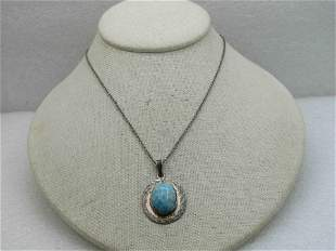 Vintage Sterling Mexican Larimar Necklace, 18""
