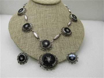 Vintage Sterling Obsidian Glass Carved Necklace Set,
