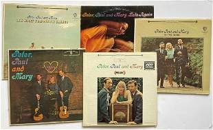 A SET OF 5 PETER PAUL AND MARY ALBUMS