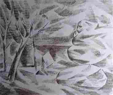 Pencil painting Rocks and trees Peter Tovpev