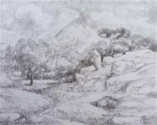 Pencil painting Rocky landscapes Peter Tovpev