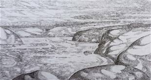 Pencil painting Dnieper expanses Peter Tovpev