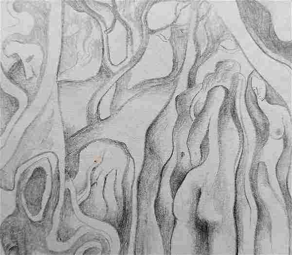 Abstract pencil painting Naked girls in the forest
