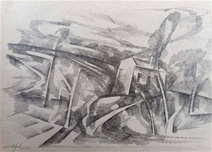 Pencil painting Landscape on a hill Peter Tovpev