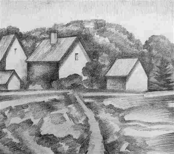 Pencil painting Village landscape Peter Tovpev
