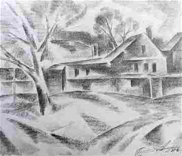 Pencil painting In the country Peter Tovpev
