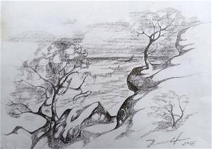 Pencil painting With sea views Peter Tovpev