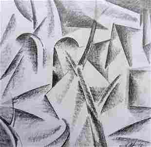 Abstract pencil painting City view Peter Tovpev