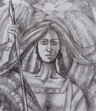 Pencil painting Valkyrie Peter Tovpev