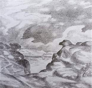 Pencil painting Before the storm Peter Tovpev