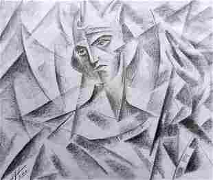 Abstract pencil painting Portrait man Peter Tovpev