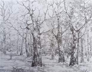 Pencil painting Autumn landscape Peter Tovpev