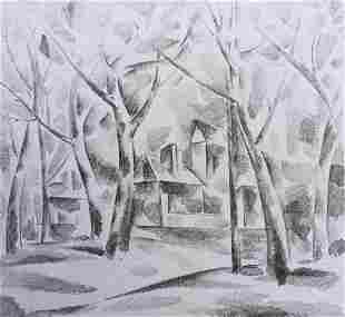 Abstract pencil painting Houses through the trees Peter