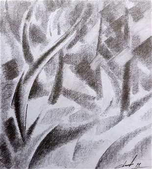 Abstract pencil painting Fog Peter Tovpev