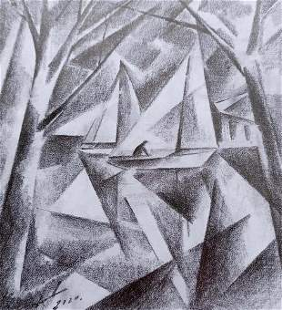 Abstract pencil painting Dock Peter Tovpev