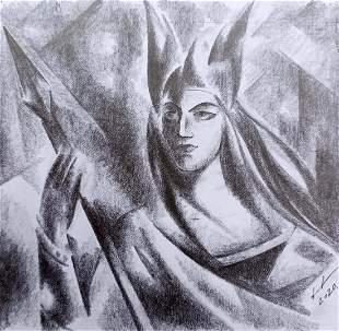 Abstract pencil painting Princess Peter Tovpev