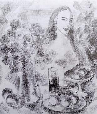 Pencil painting Girl at the table Peter Tovpev