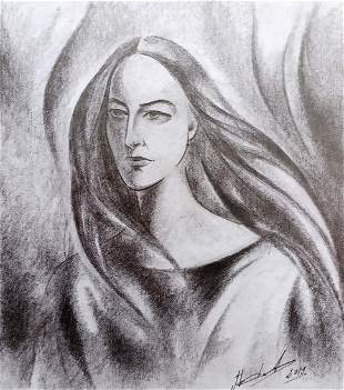 Abstract pencil painting Portrait of a girl Peter