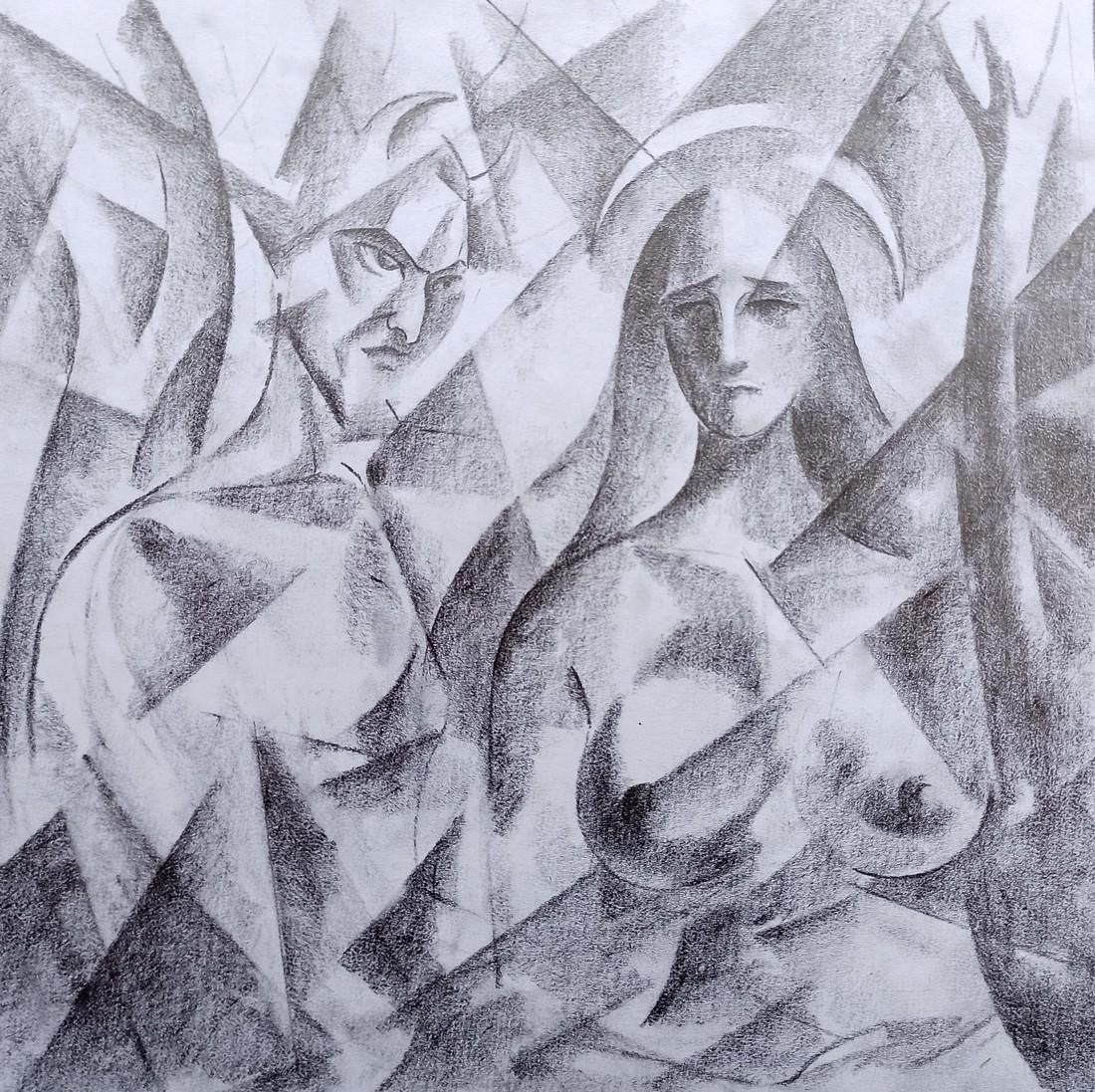 Abstract pencil painting Dark and light Peter Tovpev