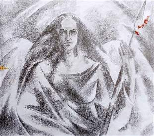 Abstract pencil painting Valkyrie Peter Tovpev