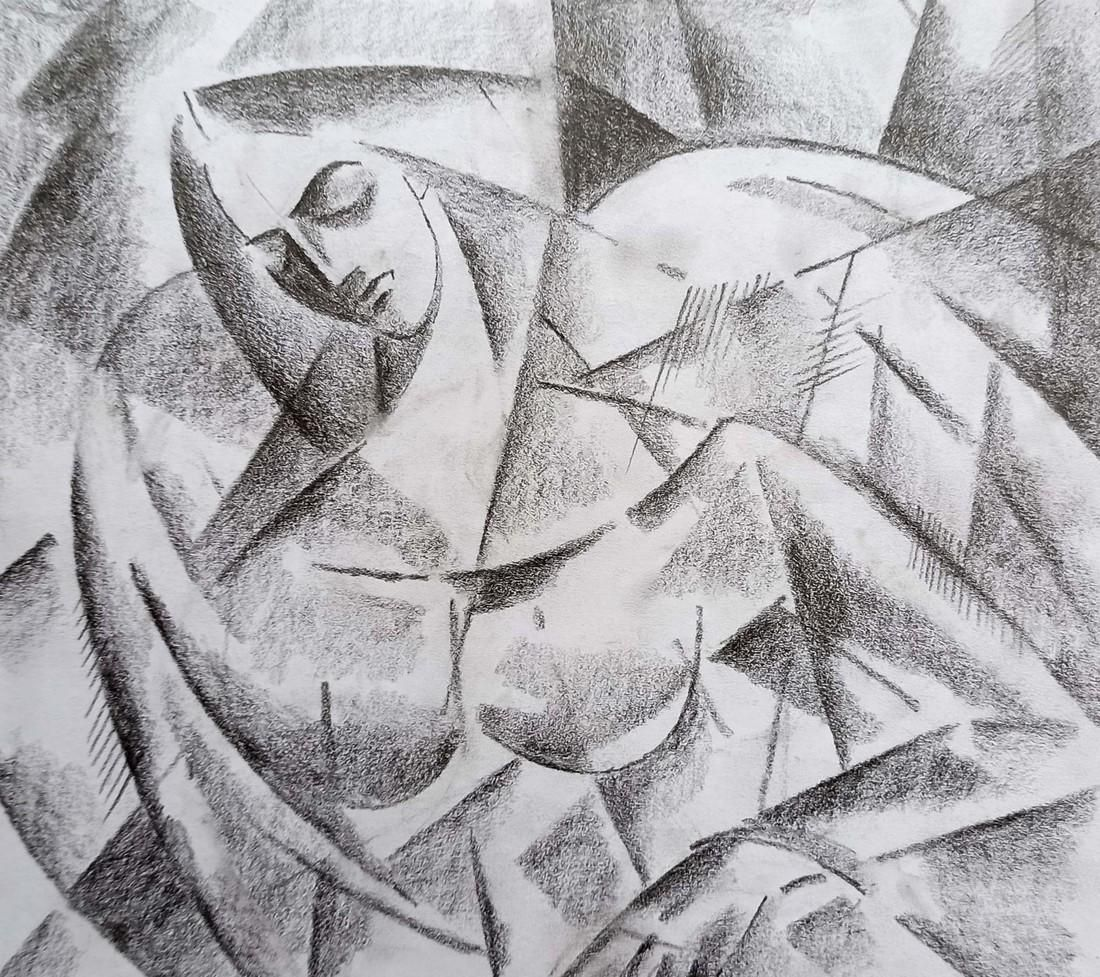 Abstract pencil painting Angel Peter Tovpev