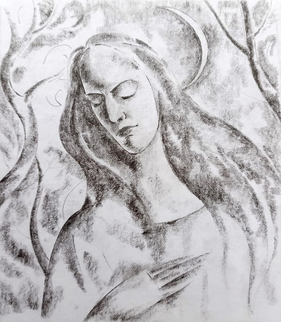 Abstract pencil painting Girl on the background of the