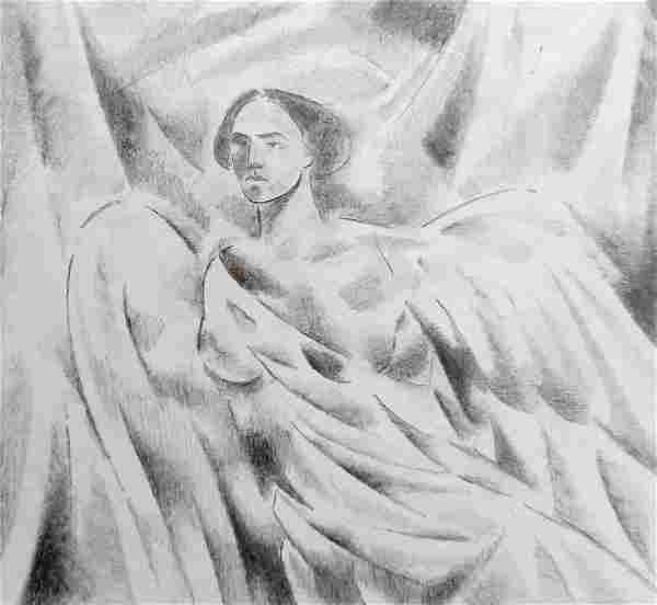 Abstract pencil painting Portrait of an angel Peter