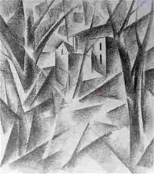 Abstract pencil painting In the woods Peter Tovpev