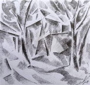 Abstract pencil painting House in the forest Peter
