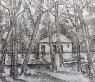 Pencil painting House on the outskirts Peter Tovpev