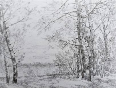 Pencil painting Late fall Peter Tovpev