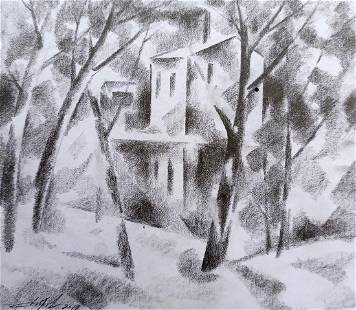 Abstract pencil painting Winter motive Peter Tovpev