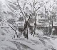 Pencil painting Winter landscape Peter Tovpev