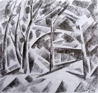 Abstract pencil painting Overlooking the bridge Peter