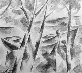Abstract pencil painting Boat on the shore Peter Tovpev