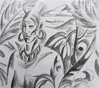 Abstract pencil painting Tropical portrait Peter Tovpev