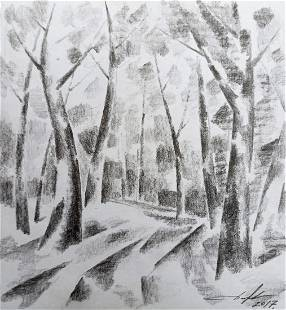 Abstract pencil painting Road to the forest Peter