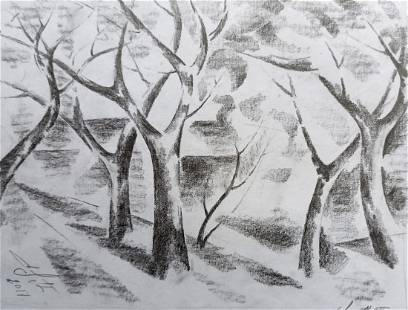 Abstract pencil painting Forest landscape Peter Tovpev