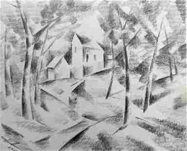 Abstract pencil painting Houses on the outskirts Peter
