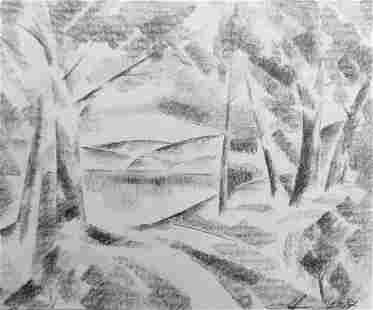 Abstract pencil painting Lake in the forest Peter