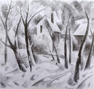 Abstract pencil painting Rural landscape Peter Tovpev
