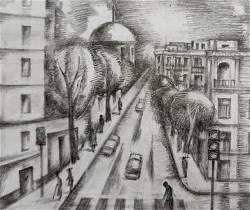 Pencil painting Urban landscape Peter Tovpev