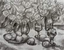 Pencil painting Fruit table Peter Tovpev