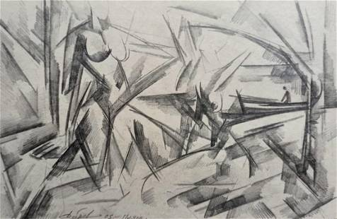 Abstract pencil painting Portrait of naked girls Peter