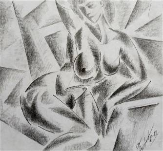 Abstract pencil painting Naked girl Peter Tovpev