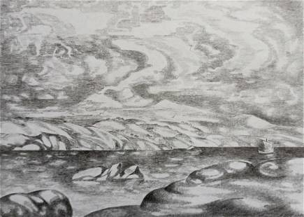 Pencil painting River landscape Peter Tovpev