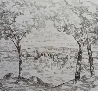 Pencil painting Romantic motive Peter Tovpev