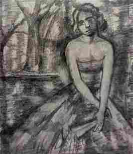Pencil painting A girl in a dress Peter Tovpev