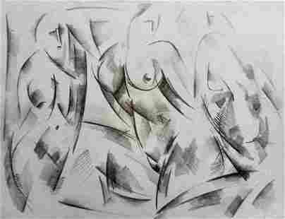 Abstract pencil painting Naked girls Peter Tovpev